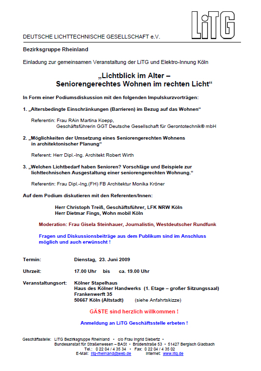 """Einladungsschreiben """"Lichtblick im Alter"""""""