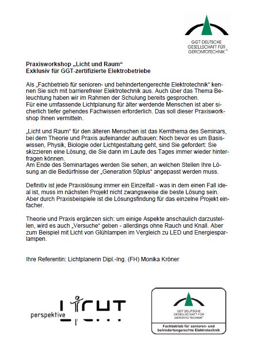 """Aufbauseminar """"Licht und Raum"""""""
